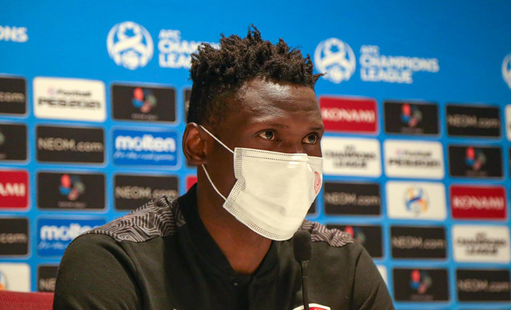 Al Duhail striker Michael Olunga fields questions from journalists after their AFC Champions League match Saturday.