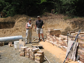 Photo: Saundra Poces helped me lay some of the bricks.