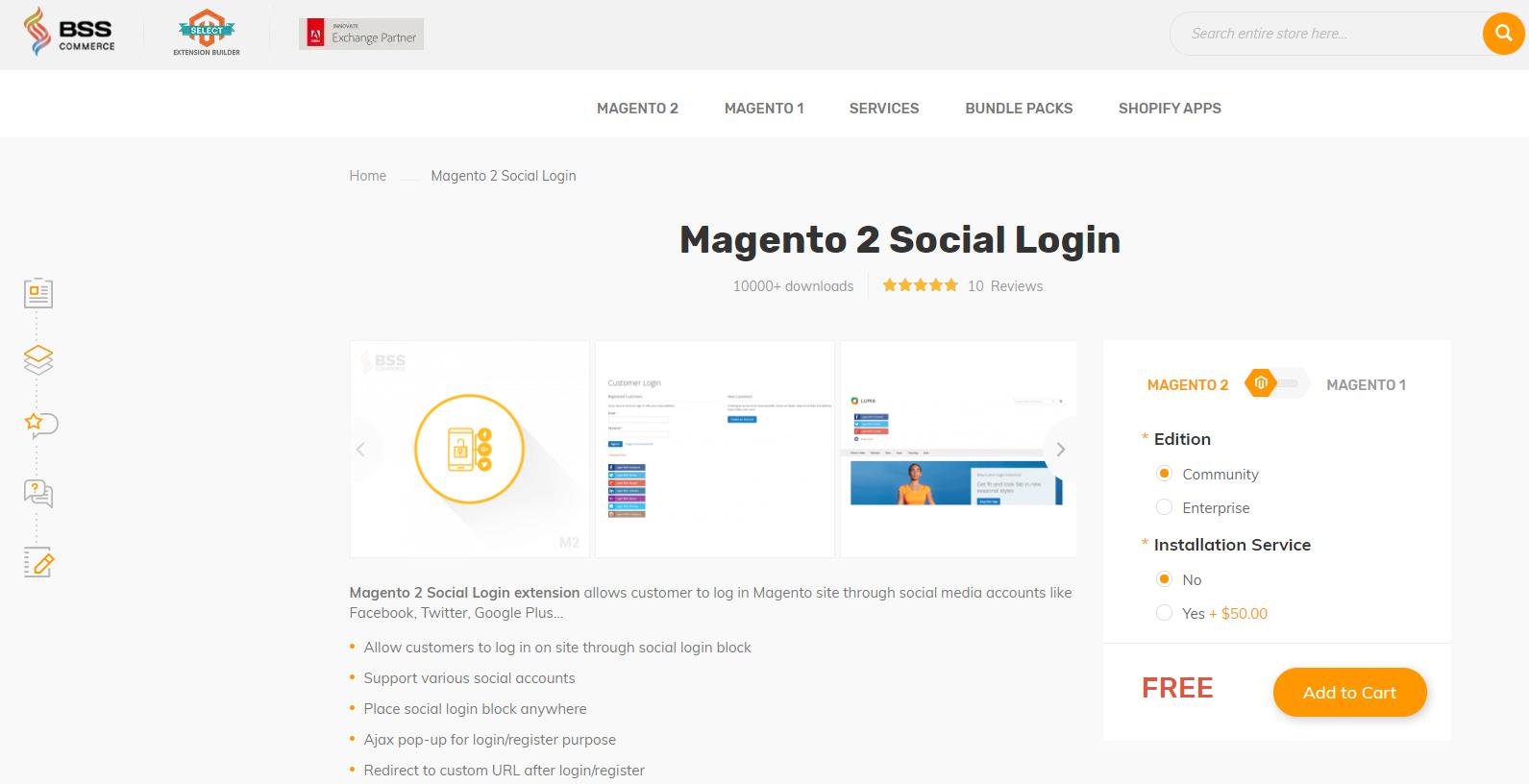 BSS Commerce Social Login - best magento extensions llist