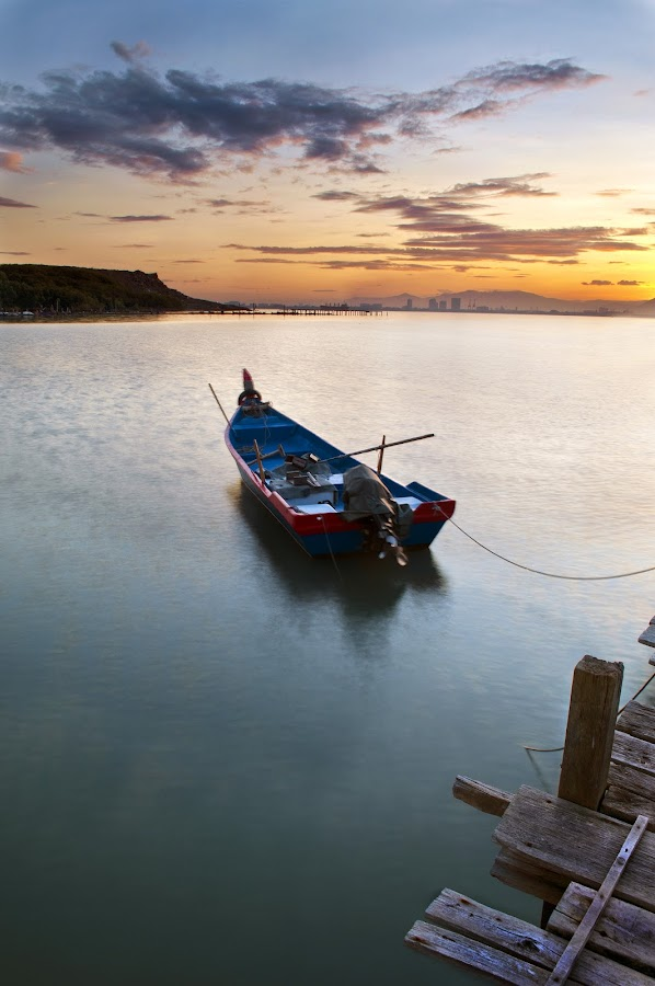 by Sam Kranz - Landscapes Waterscapes ( dri, nature, seascapes, malaysia, sunrise, jetty, boat, landscapes, dynamic range increase, sam kranz, slow shutter )