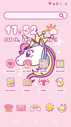 Cartoon Theme - Cute Unicorn 1.0.1 screenshots 1
