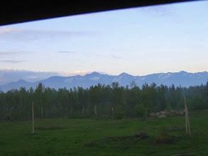 Photo: Вид из окна вагона. В горах еще лежит снег.