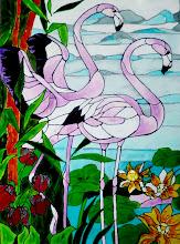 Photo: 114, Нетронина Наталья, Фламинго, Витражные краски, контуры, фольгированный картон (витражные картины), 35х28см,