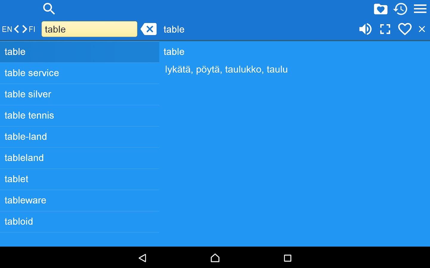English Finnish Dictionary Fr- screenshot