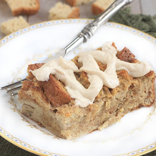 Gluten Free Baked French Toast w/ Gingerbread Cream Cheese Frosting.