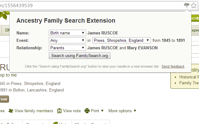 Ancestry Family Search Extension