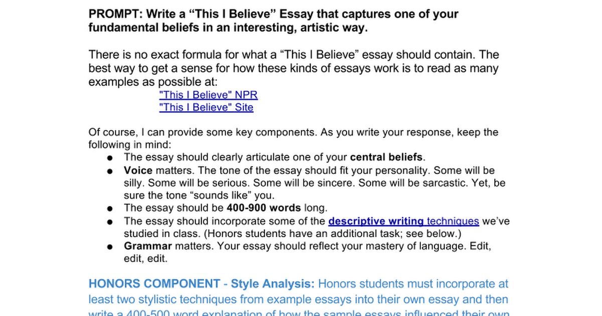 this i believe essay prompt google docs