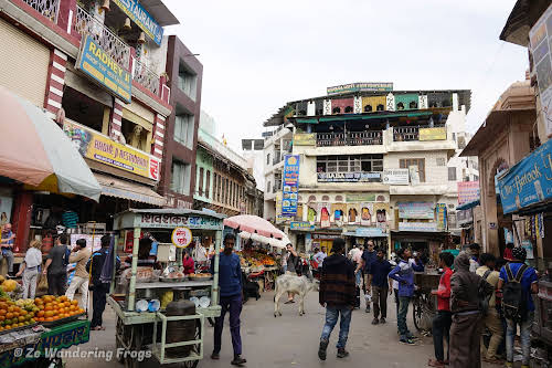 India. Rajasthan Pushkar . Main shopping street in Pushkar