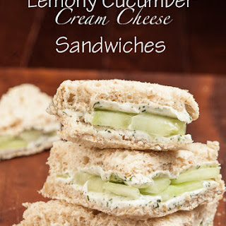 Lemony Cucumber Cream Cheese Sandwiches.