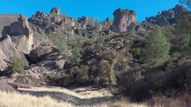 Photo: High Peaks - Pinnacles National Park. It's hard to appreciate the scale here, but many of the peaks are a few hundred feet high. A hiking trail winds up through them.