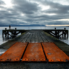 Portencross Pier by Andrew Magee - Landscapes Waterscapes ( water, scotland, arran, sea, pier, repair, jetty, rust, river )