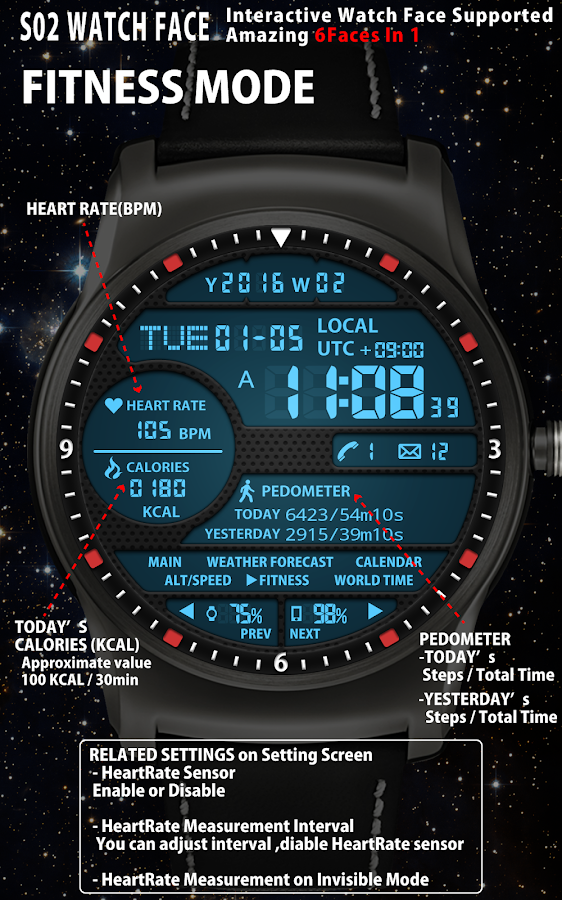 S02 WatchFace for Android Wear- screenshot