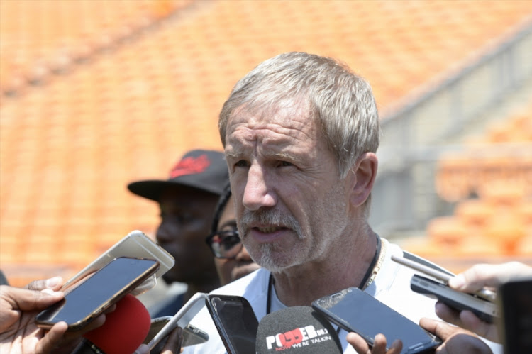 Bafana Bafana coach Stuart Baxter during the South African national mens soccer team training session at FNB Stadium on November 16, 2018 in Johannesburg, South Africa.