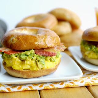 Cheesy Egg, Avocado and Bacon Breakfast Sandwich.