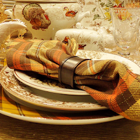 Thanksgiving Table Setting by Cheryl Beaudoin - Public Holidays Thanksgiving ( holiday, setting, dishes, dinnerware, table, thanksgiving,  )