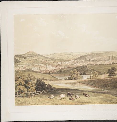 Chromolithograph. West View of Sheffield. Lithogra