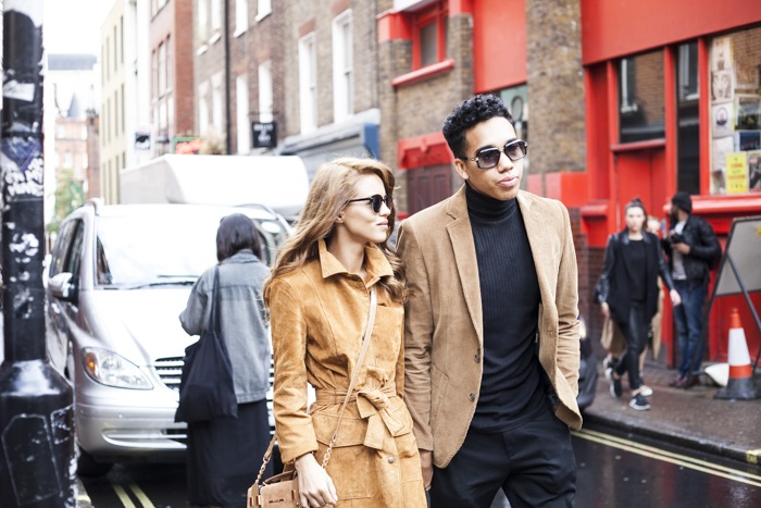 Paloma Faith and friend in trench coat at LFW