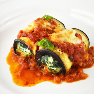 Spinach And Ricotta Eggplant Rolls.