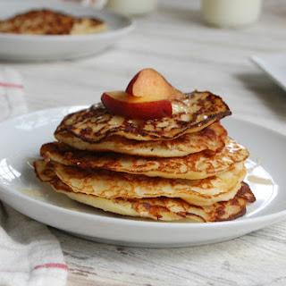 Honey Cornbread Pancakes with Peaches.