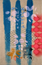 """Photo: Flip & Tuck 11"""" x 17""""  Hand embroidery and stitched glass beads on acrylic painted linen.  $3,200. All rights reserved c. 2014 Karin Birch Currently at Gravers Lane Gallery"""