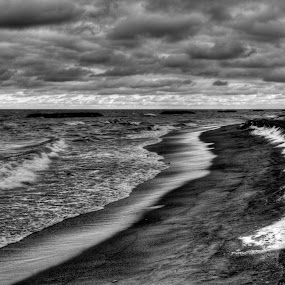 Fleeing Winter's Grasp by Kevin Hart - Black & White Landscapes ( clouds, water, kevin hart, winter, waterscape, black and white, snow, fleeing winter's grasp, pennsylvania, landscape, storm, presque isle, lake erie )