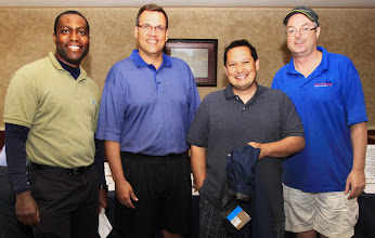 Photo: Kendall County Democrats Chairman, Chuck Sutcliff with the winners of 5th annual golf outing.