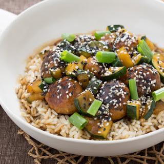 Hoisin-Glazed Chicken Meatballs with Zucchini & Brown Rice.