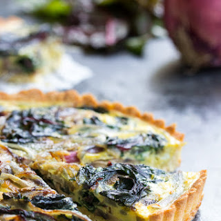 Savory Tart with Caramelized Onions, Mushrooms & Chard {Paleo}.