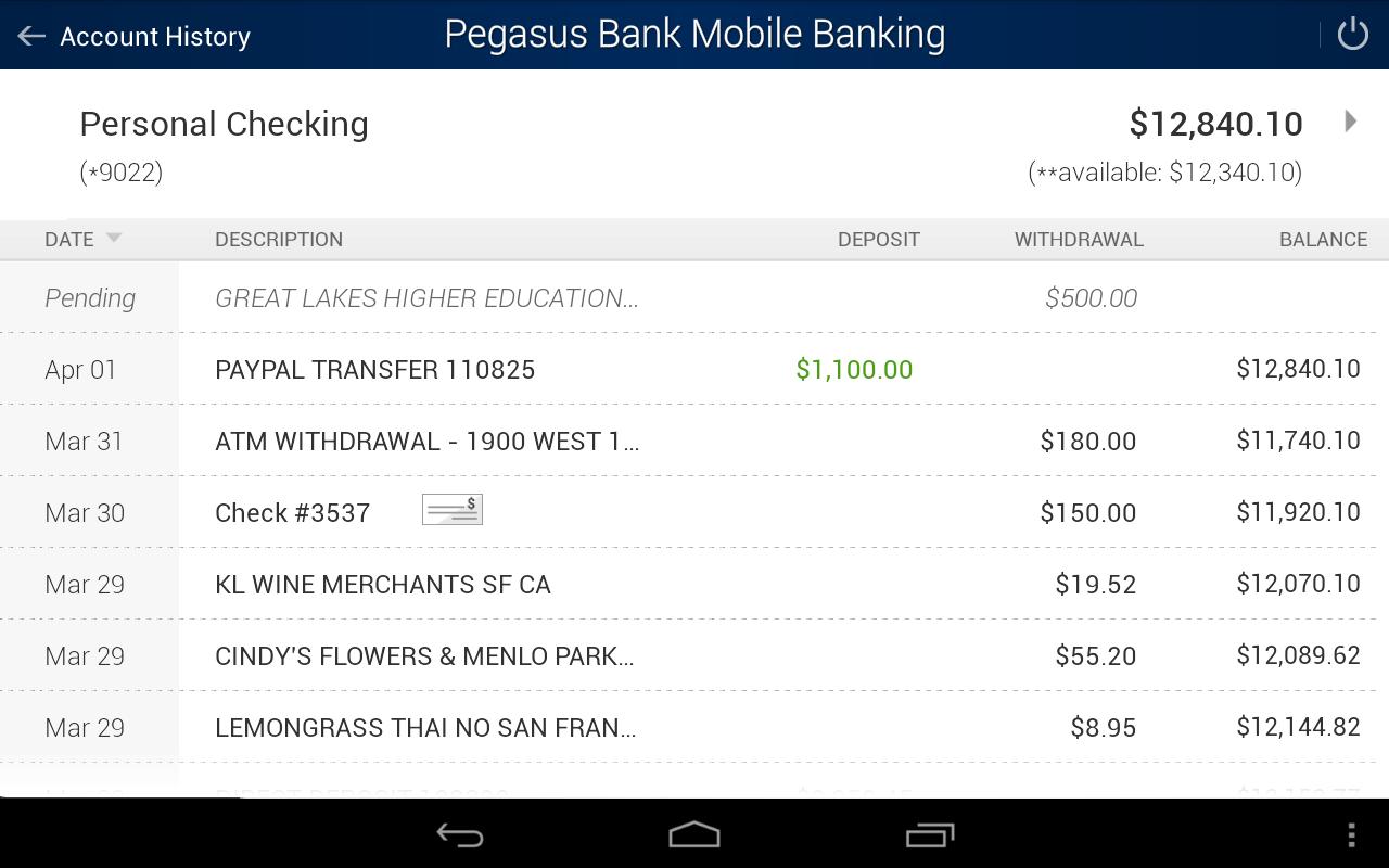 Pegasus Bank Mobile Banking- screenshot