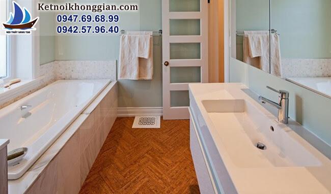 thiết kế phòng tắm với cửa nhiều kính