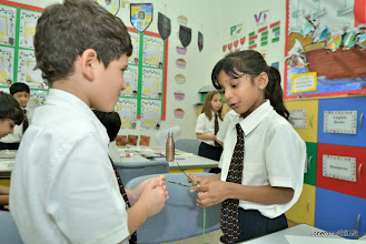 Photo: Year 3 students from Wellington Primary school, Dubai, made friendship bracelets for the Alnoor School (for special needs children).