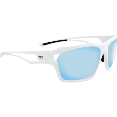 Optic Nerve Variant Sunglasses: Shiny White, with Smoke Ice Blue Mirror Lens and additional Copper Lens