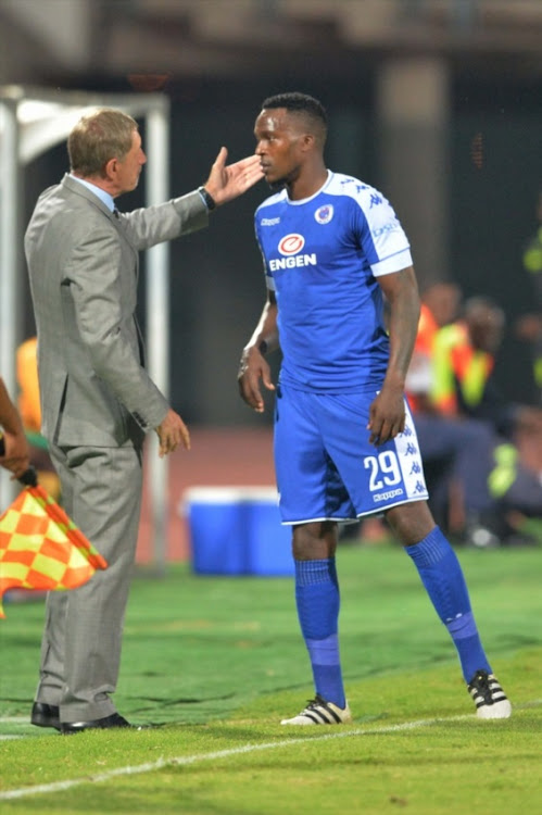 Stuart Baxter and Morgan Gould during the Absa Premiership match between SuperSport United and Golden Arrows at Lucas Moripe Stadium on February 08, 2017 in Pretoria