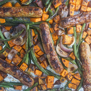 One Pan Sweet Potato, Chicken Sausage, and Green Beans