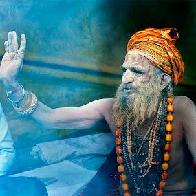 Sadhu Baba Blessing Same One by Suman Rakshit - People Street & Candids