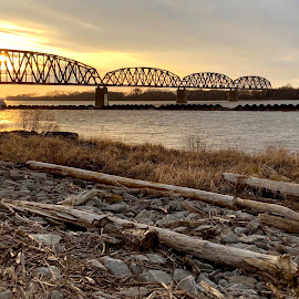Ohio River Sunset 2018 by Lorna Littrell - Instagram & Mobile iPhone ( barge, waterscape, sunset, river commerce, river, bridges, iphone,  )