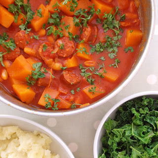 Chorizo, Cannellini Bean and Butternut Squash Stew with Mashed Potatoes and Kale