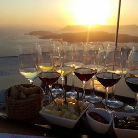Sunset wine by Sian Arulanantham - Food & Drink Alcohol & Drinks ( wine, wine tasting, glasses, sunset, greece, sea, view, olives, santorini,  )