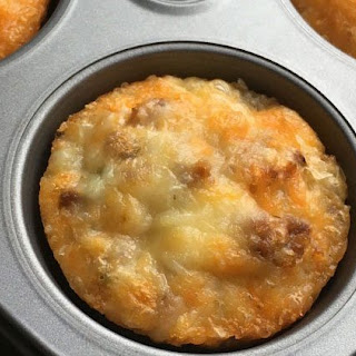 Low-Carb Portobello and Sausage Healthy Breakfast Muffin.