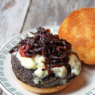 Portobello Burgers with Blue Cheese and Sautéed Red Onions