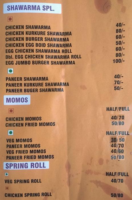 Yummy Section menu 1