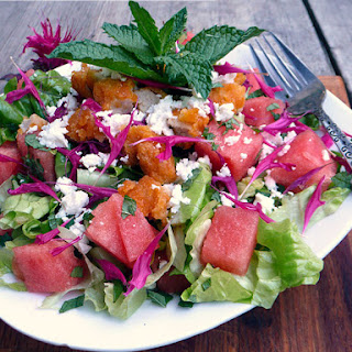 Watermelon Mint & Feta Salad with Chicken, Bee Balm & a Honey Lime Margarita Vinaigrette