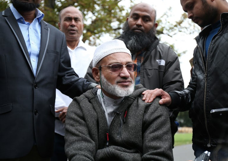Farid Ahmad, who survived the Al Noor mosque shootings but his wife Husna was killed, speaks to the media in Christchurch on March 17 2019, two days after a shooting incident at two mosques in the city.
