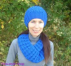 Photo: женский вязаный комплект шапка и шарф Индиго