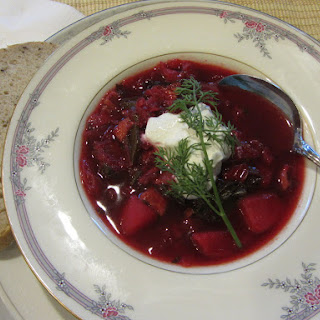 Borscht, Ukrainian beet soup with bacon