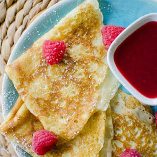 Crepes With Raspberry Sauce.