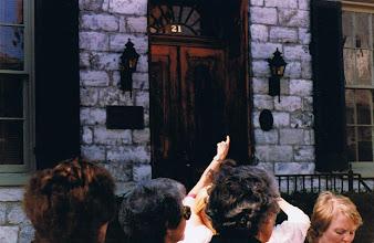 Photo: Pointing out details at the Kurtz House, 21 S. Loudoun St.