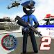 US Police Stickman Vegas Rope Hero City Gangster 2