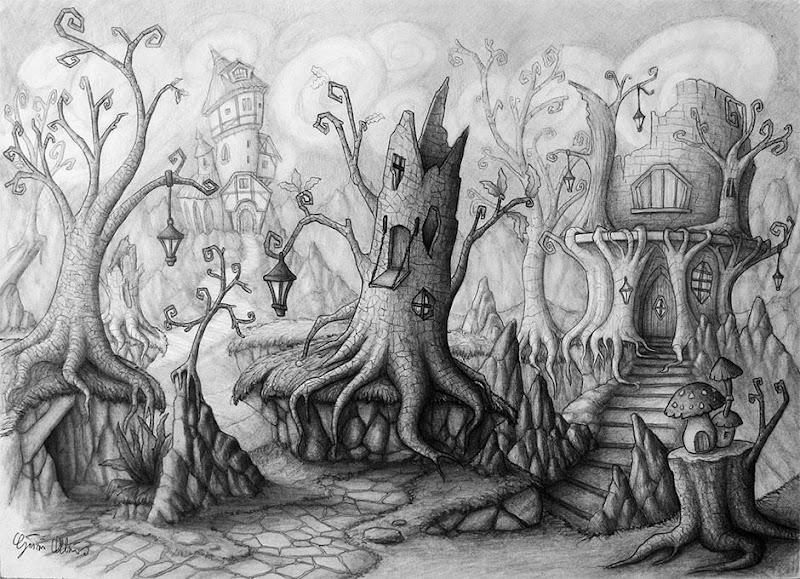 "Photo: ""Bosco Strano"" pencil drawing  Author: Gaston Nicolas Alanis"