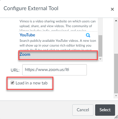Find the Zoom external tool